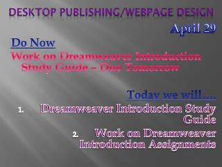 Desktop Publishing/Webpage Design