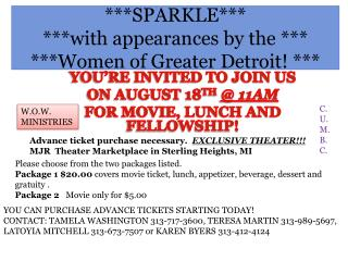 ***SPARKLE*** ***with appearances by the *** ***Women of Greater Detroit! ***