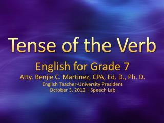 Tense of the Verb