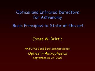 Optical and Infrared Detectors for Astronomy    Basic Principles to State-of-the-art