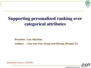 Supporting personalized ranking over categorical attributes