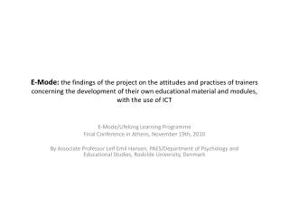 E-Mode/Lifelong Learning Programme Final Conference in Athens, November 19th, 2010