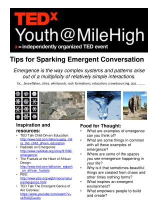 Tips for  S parking Emergent Conversation