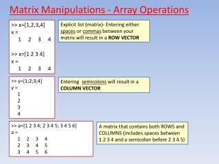 Matrix Manipulations - Array Operations