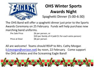 OHS Winter Sports Awards Night Spaghetti Dinner (5:00-6:30)