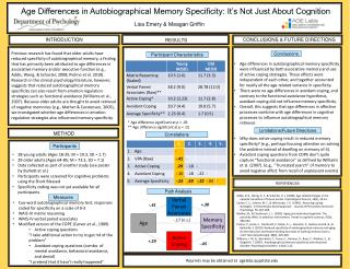 Age Differences in Autobiographical Memory Specificity: It�s Not Just About Cognition
