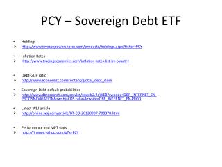 PCY – Sovereign Debt ETF