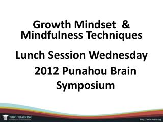 Growth Mindset   & Mindfulness Techniques Lunch  Session Wednesday