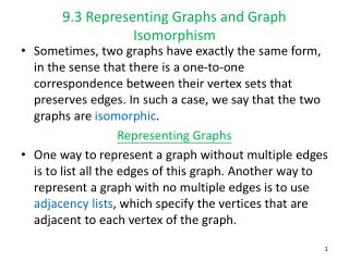 9.3 Representing Graphs and Graph Isomorphism