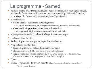 Le programme - Samedi