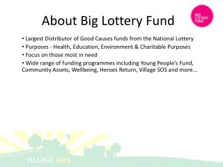 Largest Distributor of Good Causes funds from the National Lottery