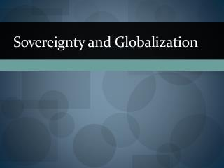 Sovereignty and Globalization