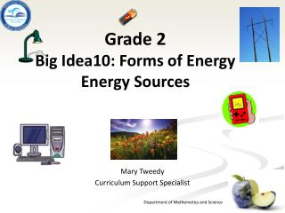 Grade 2 B ig Idea10: Forms of Energy Energy Sources
