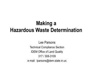 Making a Hazardous Waste Determination