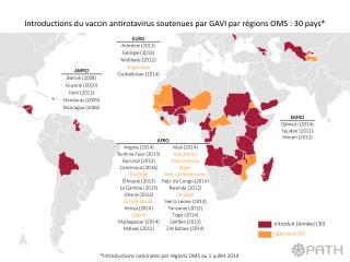 *Introductions nationales par régions OMS  au  1  juillet  2014