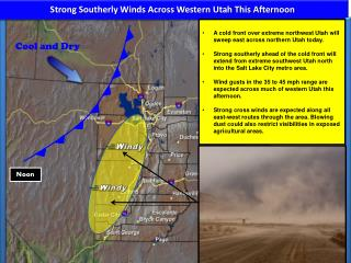 Strong Southerly Winds Across Western Utah This Afternoon