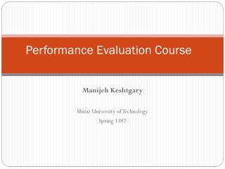 Performance Evaluation Course