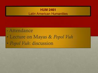 HUM 2461 Latin American Humanities