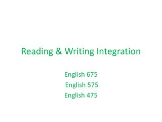 Reading & Writing Integration