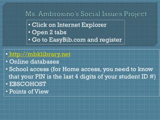 Ms.  Ambrosino's  Social Issues Project