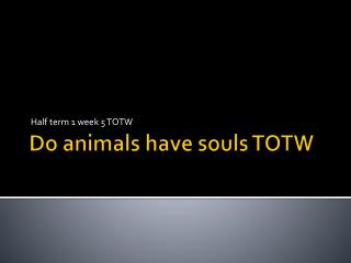Do animals have souls TOTW