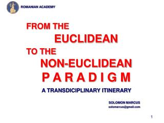 A TRANSDICIPLINARY ITINERARY