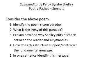 Ozymandias by Percy Bysshe Shelley Poetry Packet – Sonnets