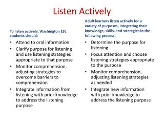 Listen Actively