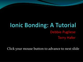 Ionic Bonding: A Tutorial