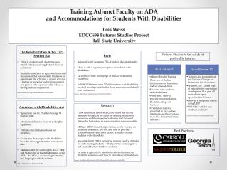 Training Adjunct Faculty on  ADA and  Accommodations for Students With  Disabilities Lois  Weiss
