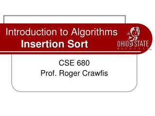 Introduction to Algorithms Insertion Sort