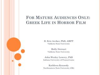 For Mature Audiences Only: Greek Life in Horror Film