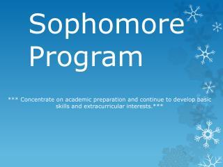 Sophomore Program