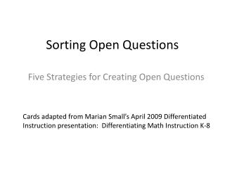 Sorting Open Questions