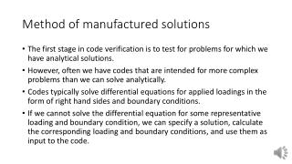 Method of manufactured solutions