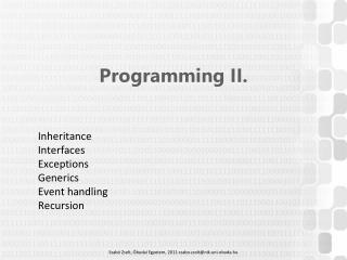 Programming  II.