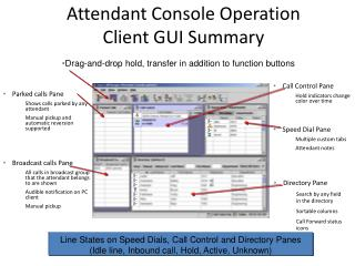 Attendant Console Operation Client GUI Summary