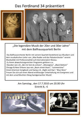 """""""Die legendäre Musik der 20er und 30er Jahre""""  mit dem  Ballhausquartett  Berlin"""