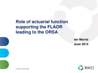 Role of actuarial function supporting the FLAOR  leading to the ORSA