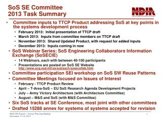 SoS SE Committee  2013 Task Summary