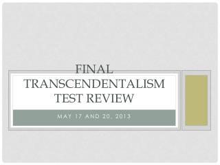 Final Transcendentalism test review