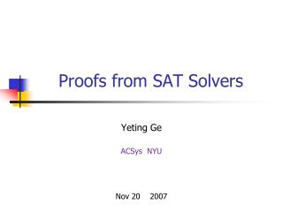 Proofs from SAT Solvers