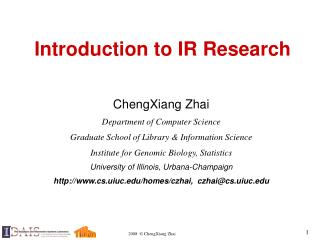 Introduction to IR Research