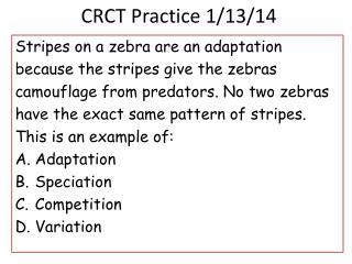 CRCT Practice 1/13/14