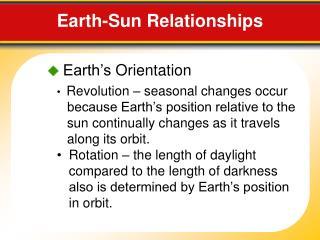 Earth-Sun  Relationships