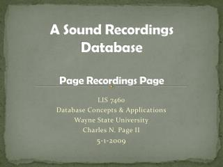 A Sound Recordings  Database Page Recordings Page