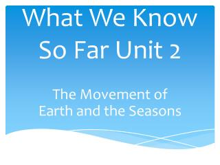 What We Know So Far Unit 2