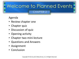 Welcome to Planned Events