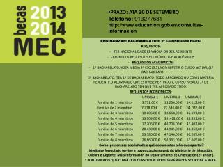 PRAZO: ATA 30 DE SETEMBRO Teléfono: 913277681 educacion.gob.es/consultas-informacion
