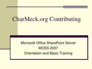 CharMeck Contributing